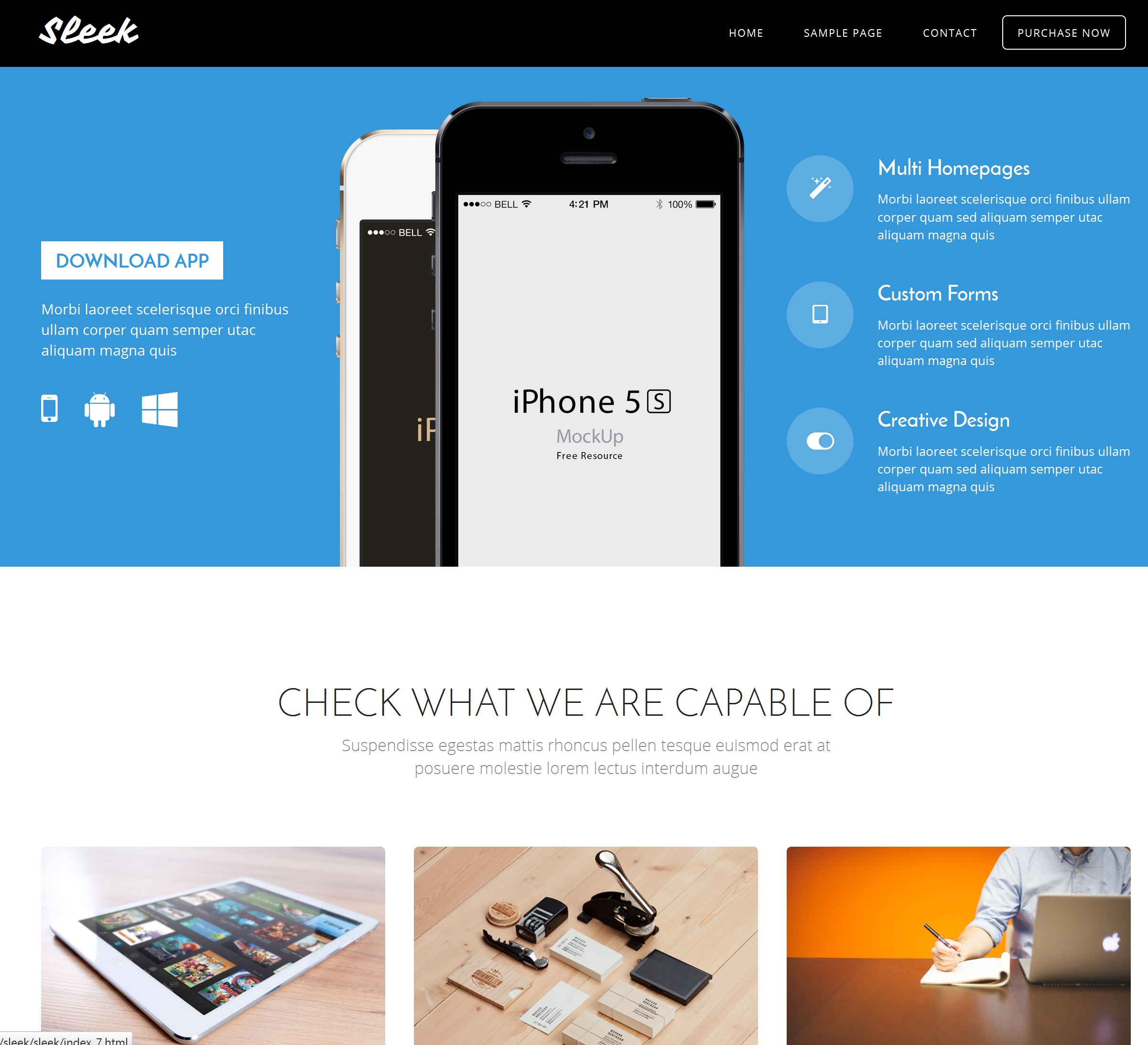 HTML Bootstrap One Page Theme